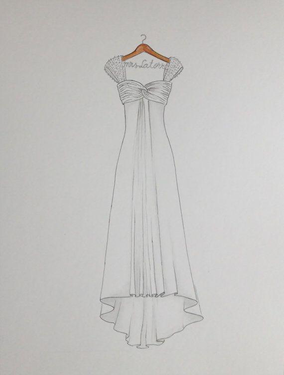 Custom wedding dress drawing on hanger with name, original dress ...