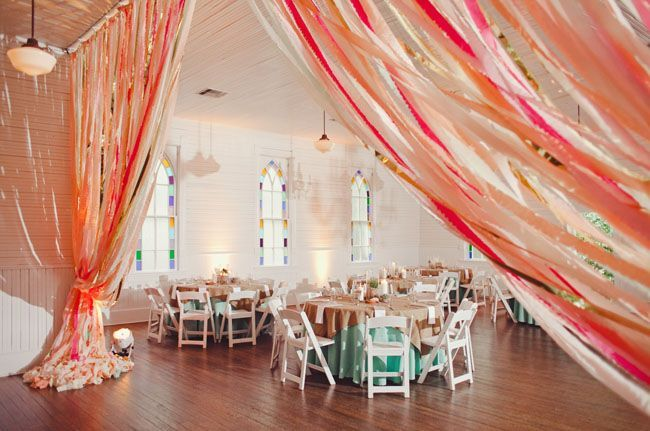 Colorful Tablescape And Ribbon Curtains