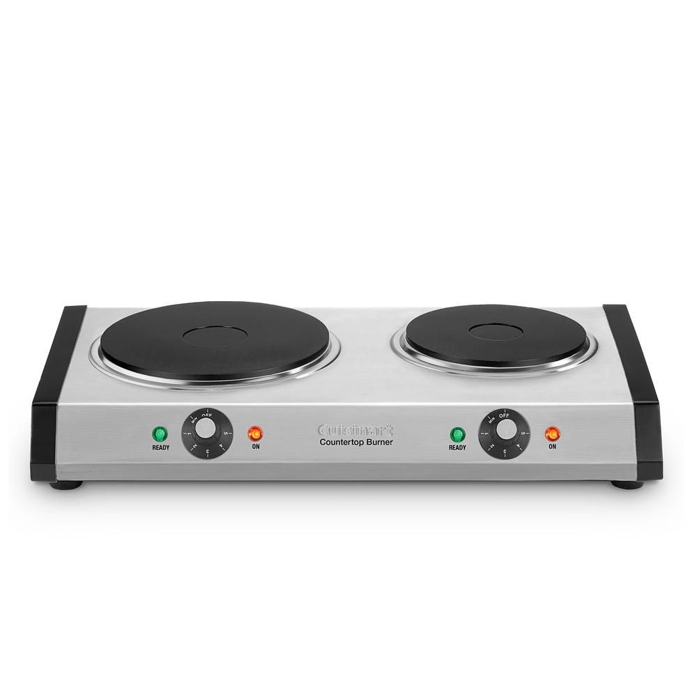 Cuisinart 2 Burner 8 In Cast Iron Hot Plate With Temperature Control Brushed Stainless Sliver In 2020 Electric