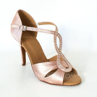 Women's Satin Heels Sandals Latin Wedding Party With Rhinestone T-Strap Dance Shoes (053013476)