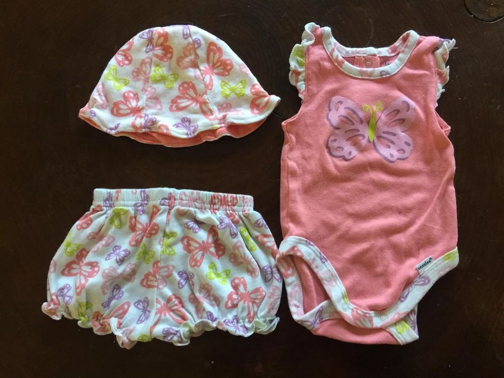 Baby Girl Butterfly Outfit Size 0 3 Months Shorts Hat And Onesie All Gerber Gerber Everyday Outfits Short Jumpsuit Clothes For Sale