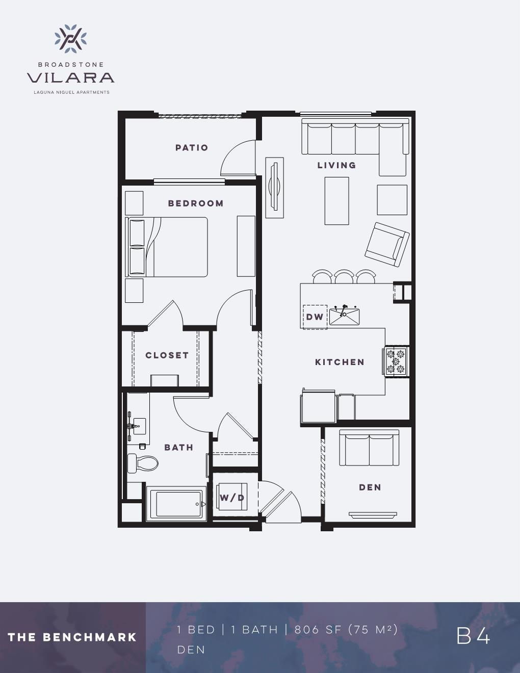 One Bedroom Den Apartment The Benchmark Broadstone Vilara In 2020 Floor Plans Apartment Floor Plans Apartment Floor Plan