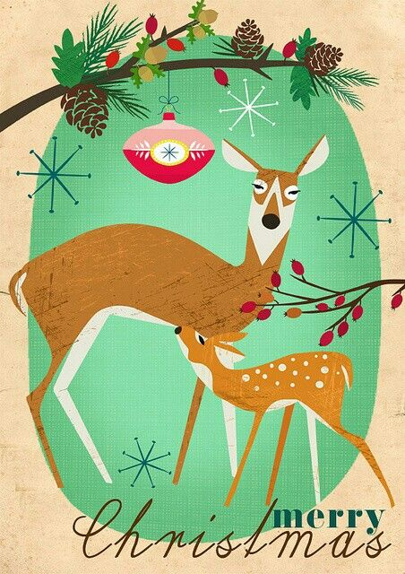 Vintage Christmas Holiday Retro Deer Card With Atomic Age Snowflakes