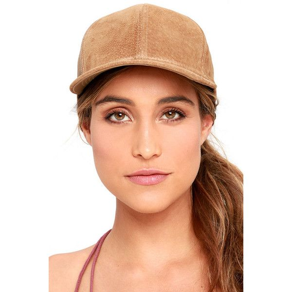 $30. Swift and Sure Light Brown Suede Leather Baseball Cap featuring polyvore, women's fashion, accessories, hats, brown, adjustable hats, ball cap hats, baseball cap hats, suede hat and suede baseball caps