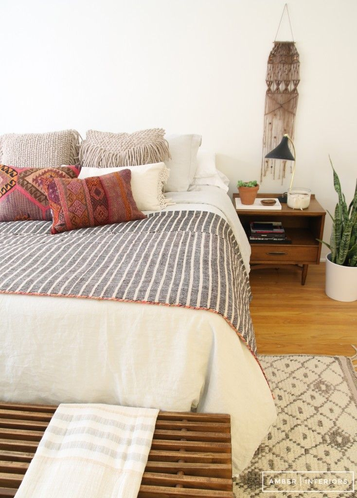 Creamy Neutral Bohemian Bedroom With Wall Weaving Midcentury Nightstand And Styling From