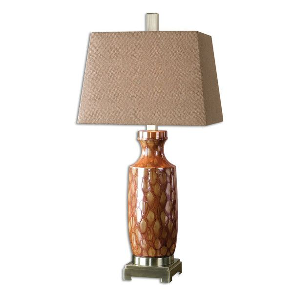 Ceramic Base Table Lamp Finished In A Rust Drip Glaze With A