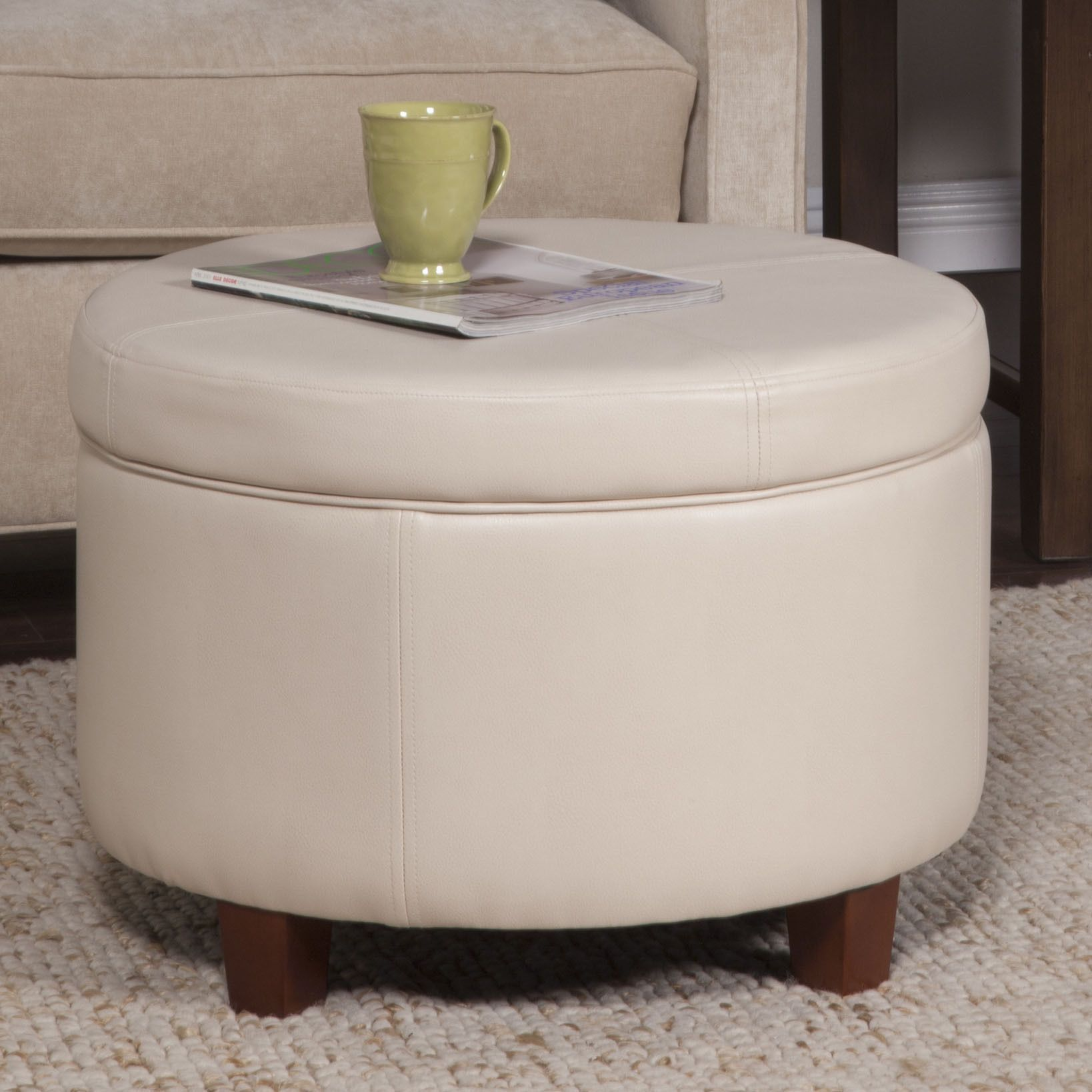 Homepop large ivory leather round storage ottoman ivory faux
