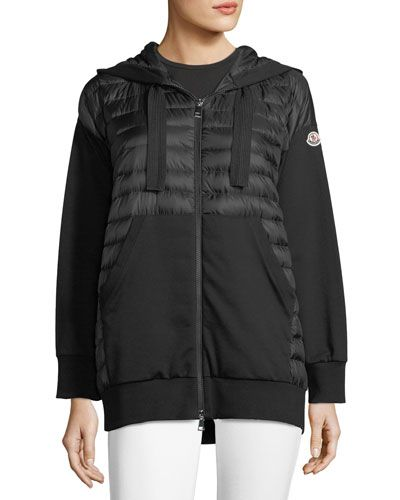 c8f403882 MONCLER MAGLIA ZIP-FRONT MIXED MEDIA HOODIE.  moncler  cloth ...