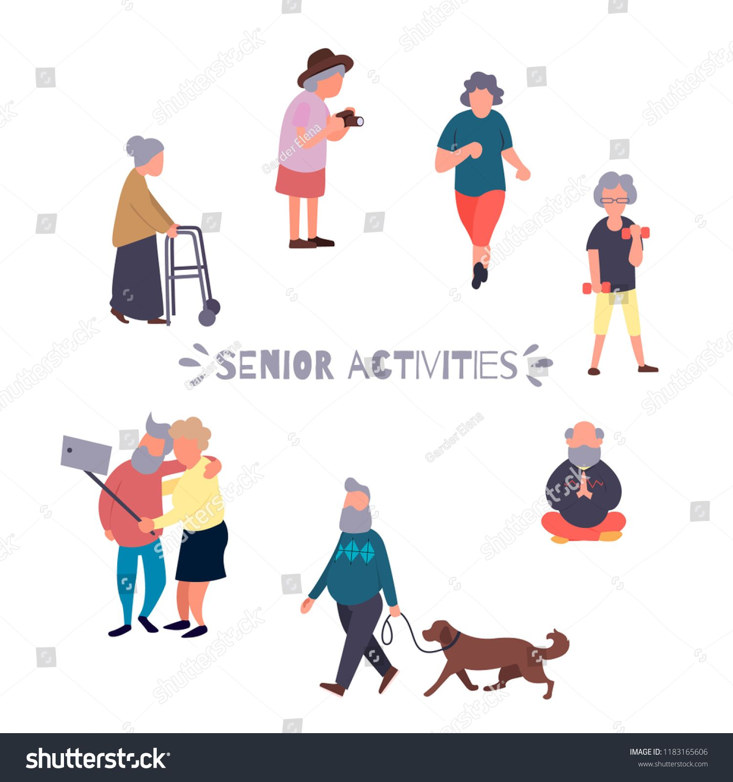Recreation And Leisure Senior Activities Concept Group Of Active Old People Elder People Vector Backgrou Senior Activities Vector Character Vector Background