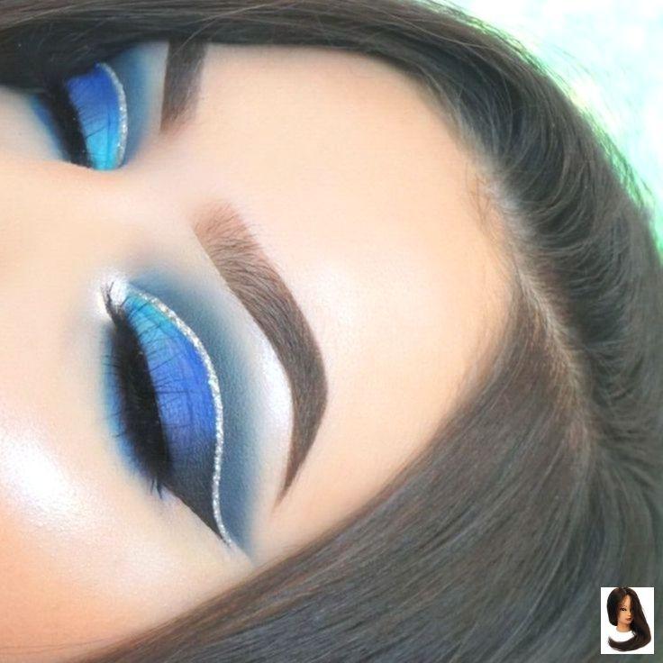 ojo ahumado azul con pliegue plateado brillante – Modelos de vestidos
