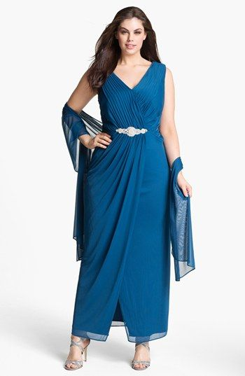 79499e6a2e5 Alex Evenings Embellished Mesh Gown Shawl (Plus Size) available at   Nordstrom