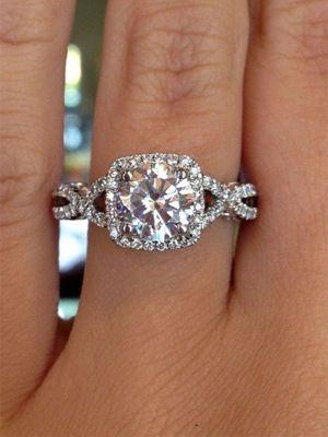 twisted double band princess cut diamond wedding engagement rings - Princess Wedding Rings