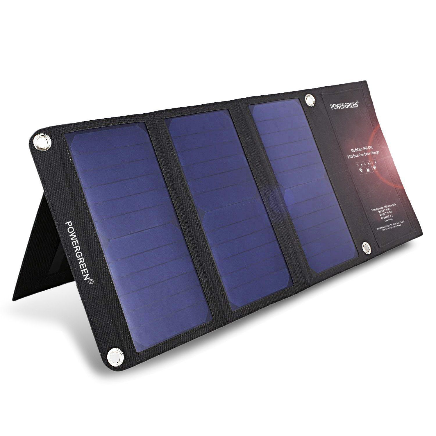 Portable Foldable 21W 5V Solar Charger with Dual USB Port for iPhone Samsung LG