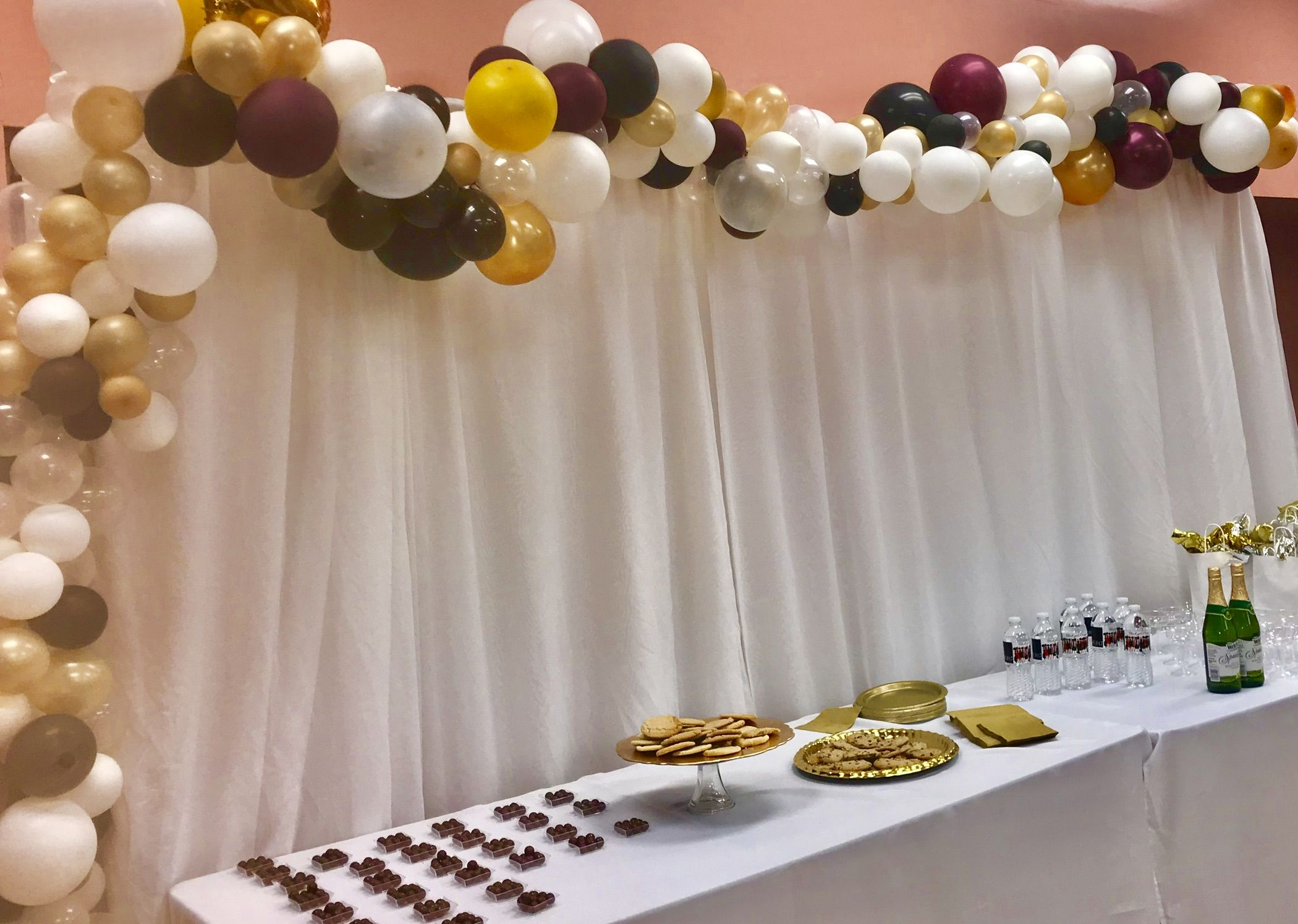 Burgundy Gold White And Black Abstract Organic Balloon Arch