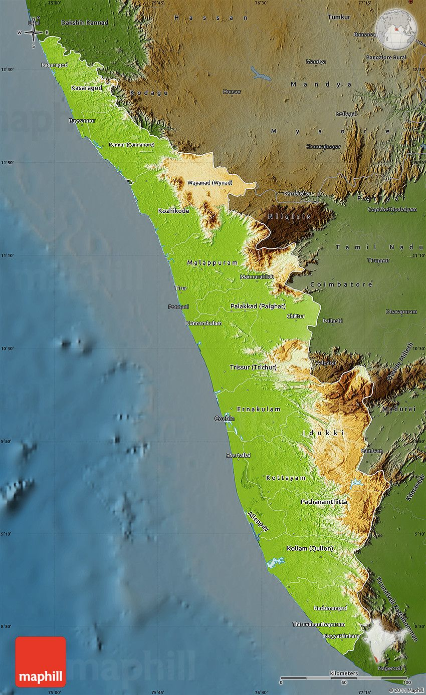 Physical map of kerala darken places to visit pinterest physical map of kerala darken publicscrutiny Images