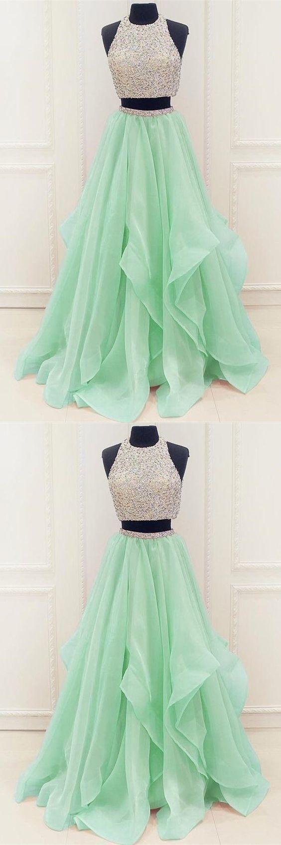 Zweiteiliges Abendkleid, mintgrünes Tüll langes Abendkleid