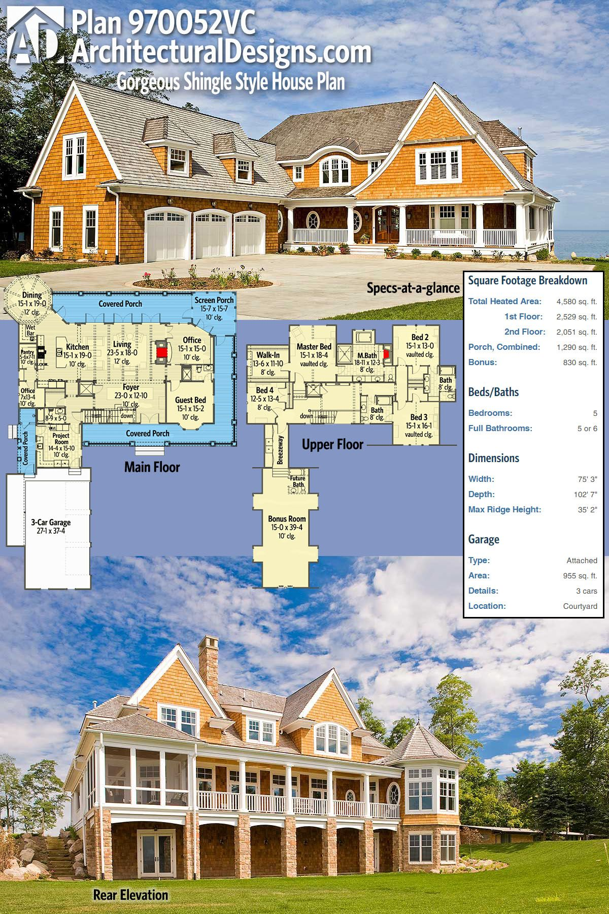 Architectural Designs Gorgeous Shingle Style House Plan