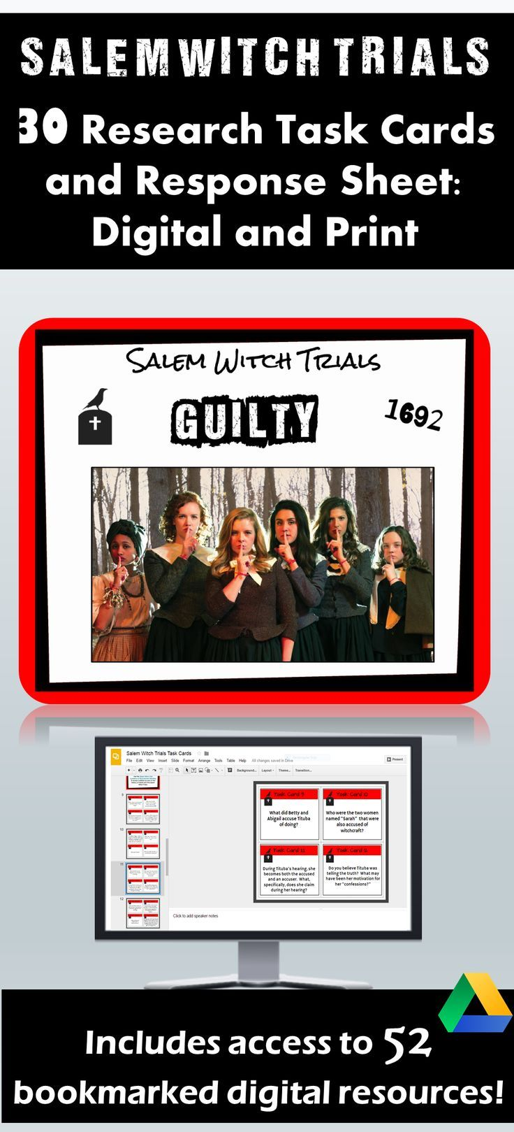 Salem Witch Trials Research Task Cards: Google Drive ...