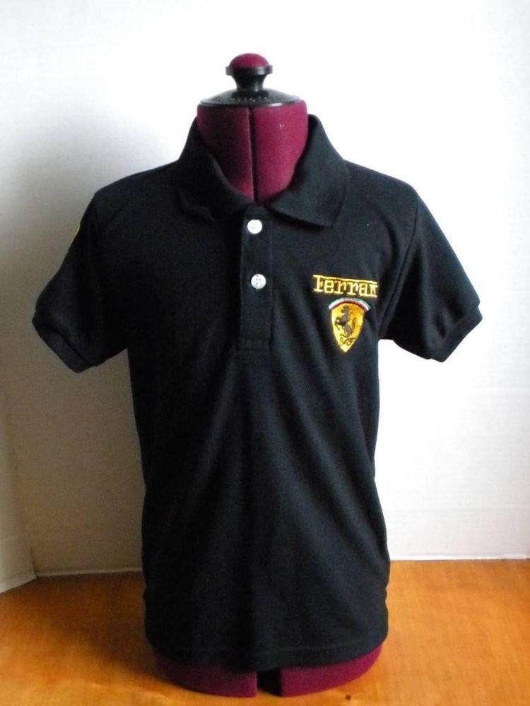 20c234be7 Ferrari Kids XL Polo Shirt Black + Yellow Logo F1 Team Scuderia Ferrari  B7   Ferrari  Everyday