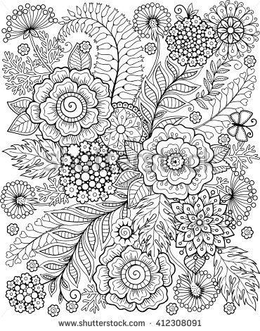 Coloring Book For Adults For Meditation And Relax Decorative Wild Flowers And Herbs Vector Elements Malyunok Grafika Kviti