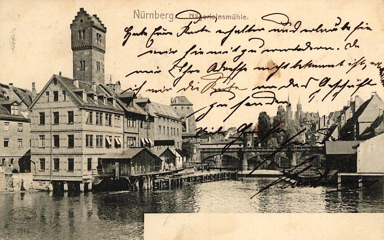 Pegnitz Richtung Osten, abgestempelt 1904