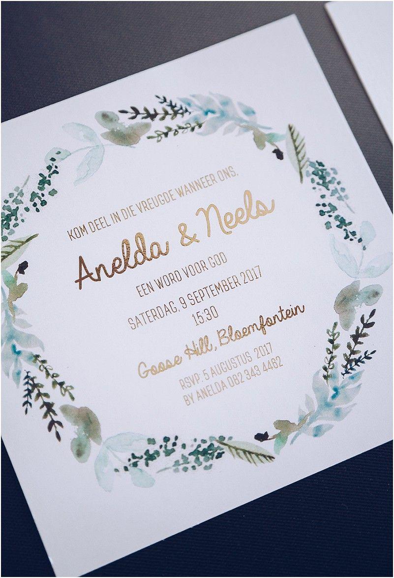 waterverf blommekrans uitnodiging skryfbehoefte wedding
