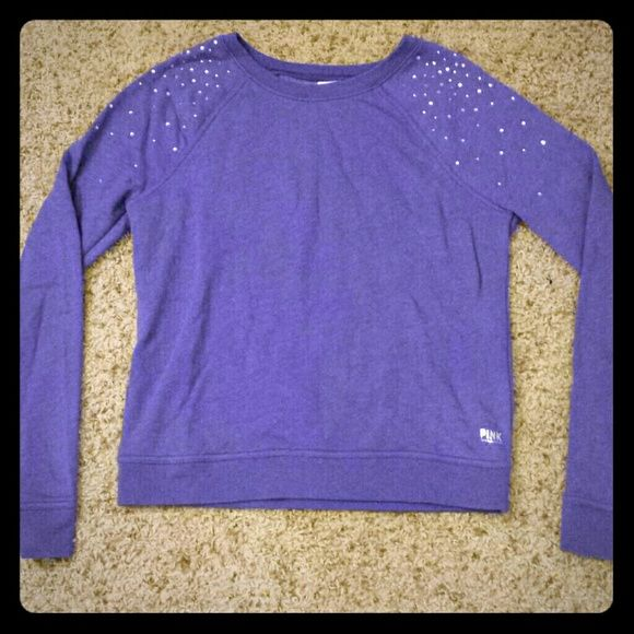 Victoria's Secret PINK rhinestone sweatshirt lilac So soft on the inside! Only worn a few times... no rhinestones missing Victoria's Secret Sweaters Crew & Scoop Necks