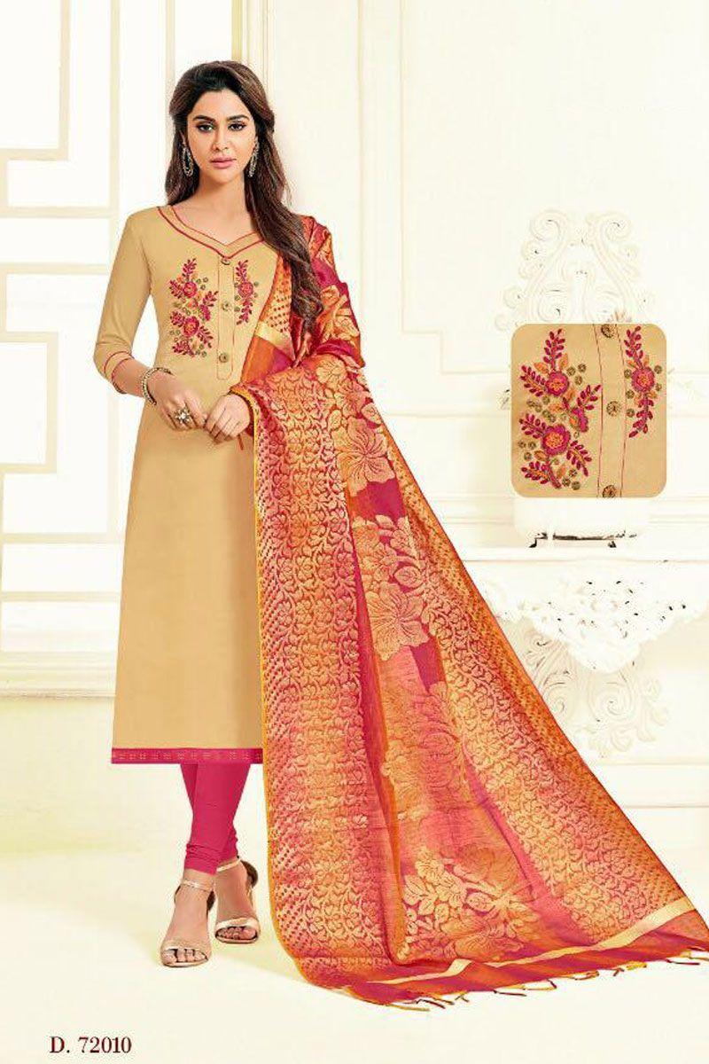 9a2a76e962 Cream Indian Festive Wear Embroidered Silk Salwaar Suit With Banarasi Silk  Dupatta Catalog No : 7648