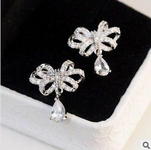 Womens Top Quality Swiss Zircon Bow Water-drop Earrings Classic Jewelry2014 nickel free 8.99$