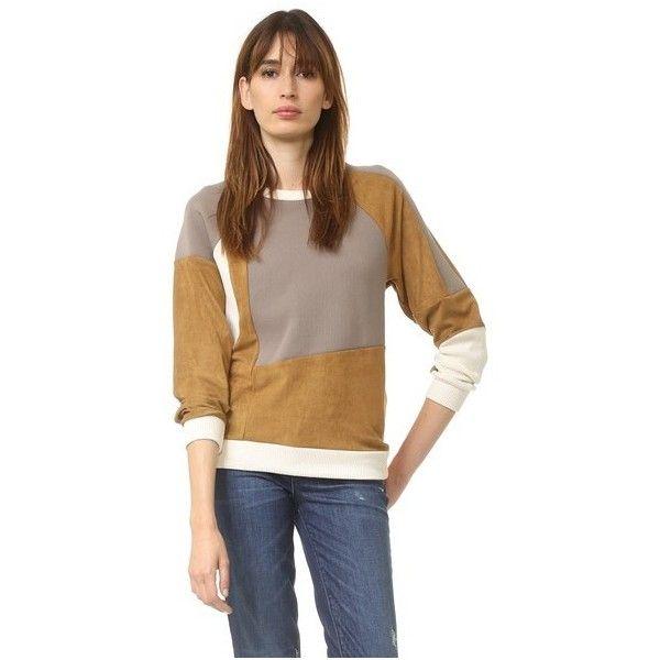 MM6 Patchwork Sweatshirt ($380) ❤ liked on Polyvore featuring tops, hoodies, sweatshirts, block tops, brown tops, long sleeve sweatshirt, patchwork tops and brown sweatshirt