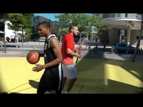 The Courooons Tennis Meets Basketball Trick Shots Hd New Trick Shots Ball Exercises Tennis
