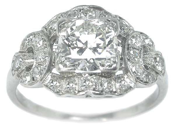 Art Deco 0.92ct Diamond Platinum Engagement Ring   New York Estate Jewelry   Israel Rose $6,900 F-G SI2