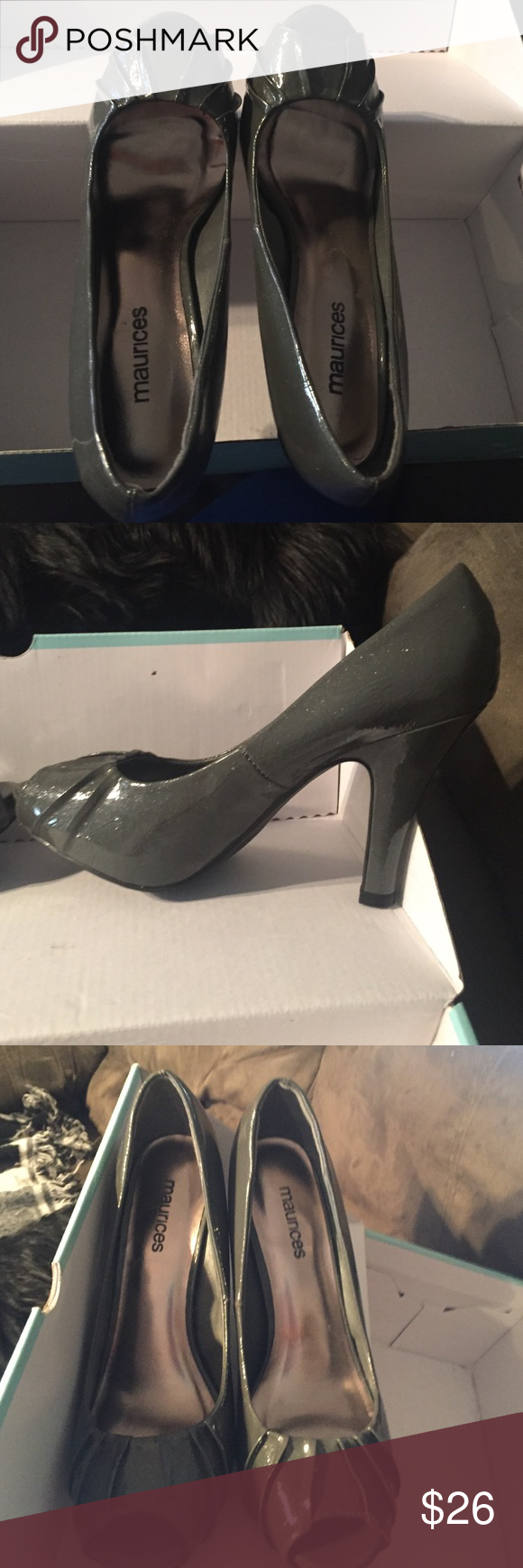 Maurice's gray Fern Crinkle peep toe heels 👠 -NWT Never worn still down n box heels. They have tiny sparkles throughout. Very sexy shoe Maurices Shoes Heels