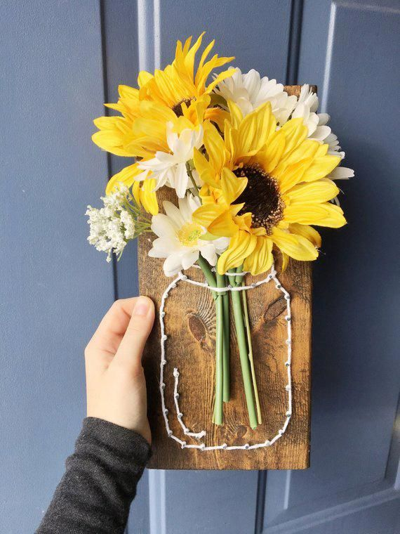 Sunflower String Art, Mother's Day Gift Ideas, Mom, Country Home Decor, Sunflower Gift For Her, Maso #countryhomedecoration #sunflowerbedroomideas