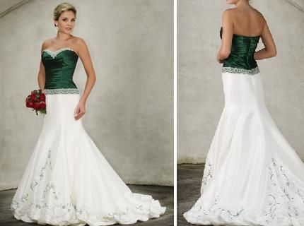 Emerald Green And White Wedding Dress For Bride