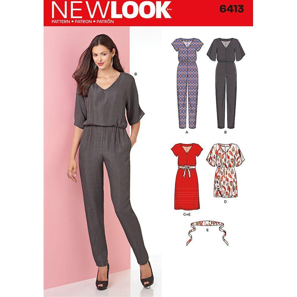 New Look Schnittmuster Misses \'Jumpsuit Kleid und Gürtel Größe 8-20 ...