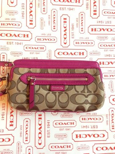 'Coach NWT Magenta Double Zip Wallet ' is going up for auction at  1pm Sun, Oct 13 with a starting bid of $1.