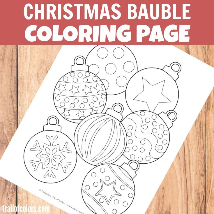 Christmas Bauble Coloring Page for Kids   Christmas tree ...