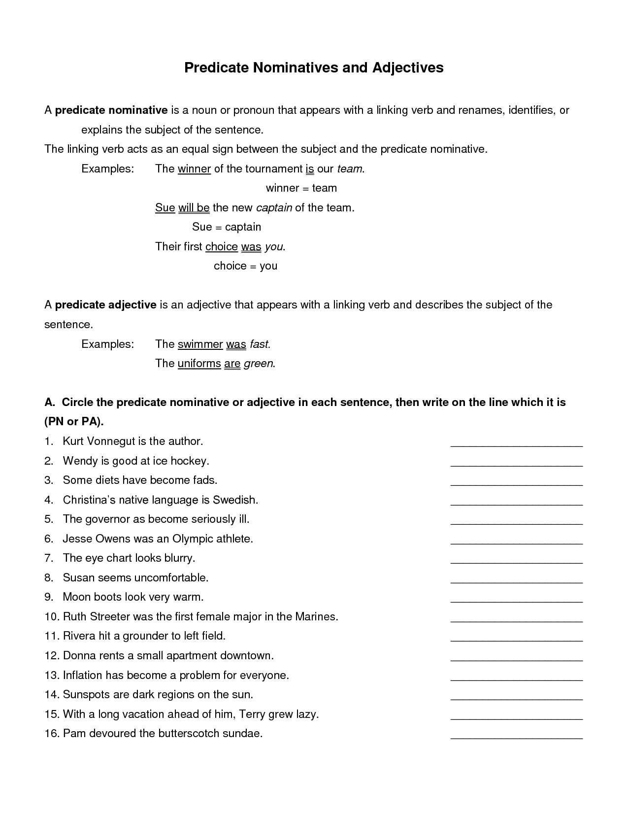 Subject Noun And Predicate Noun Worksheet With Answers Google
