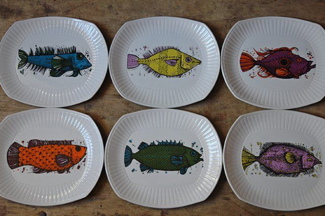 Full set of vintage Aquarius fish plates | H is for Home