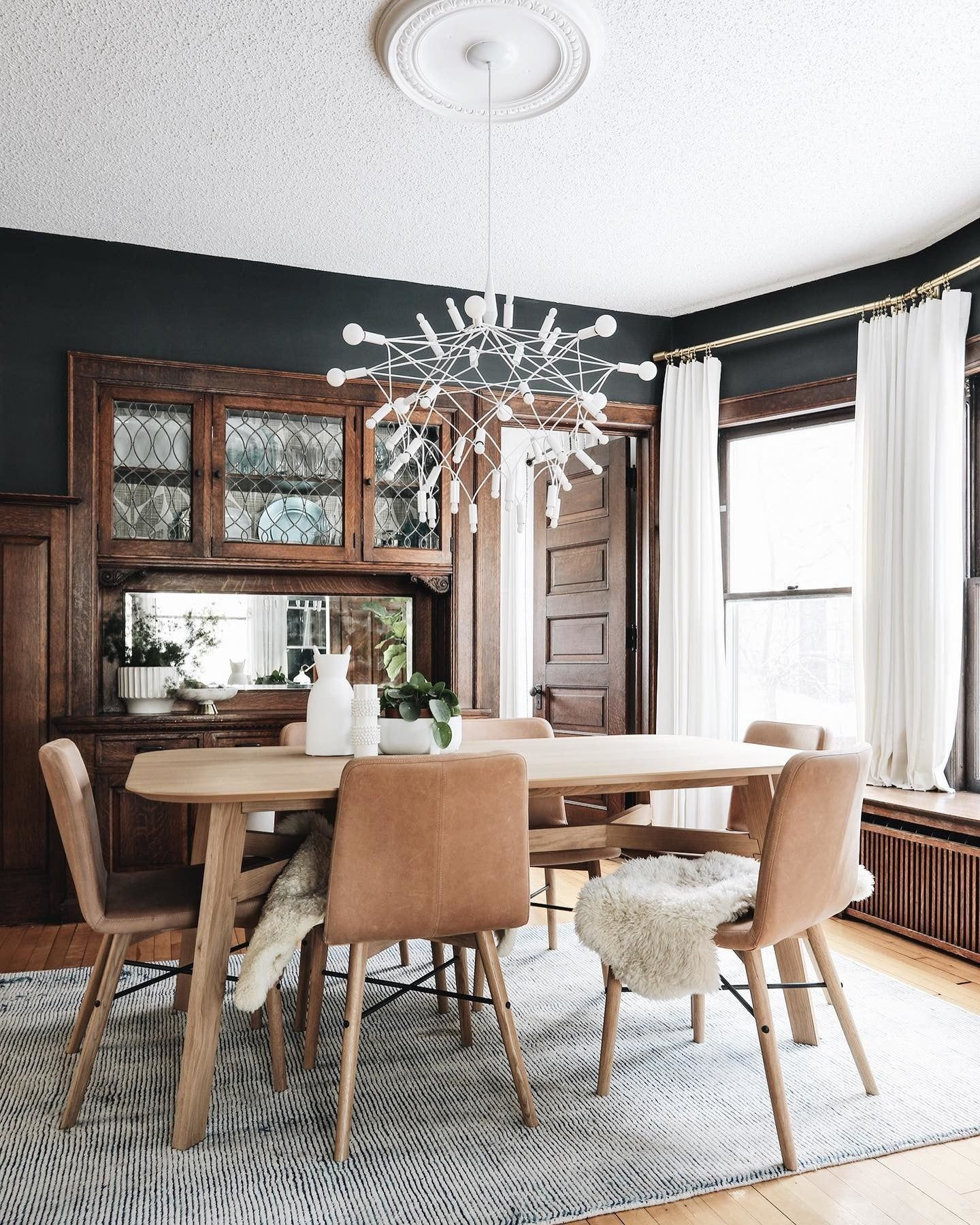 Continuing On With The Before After S I Want To Share Our Dining Room In Typical Four Square Light Oak Dining Table Dark Dining Room Craftsman Dining Room