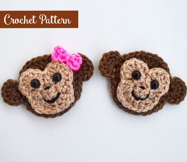 Monkey Applique Crochet Pattern - Crochet Monkey - Animals Appliques ...