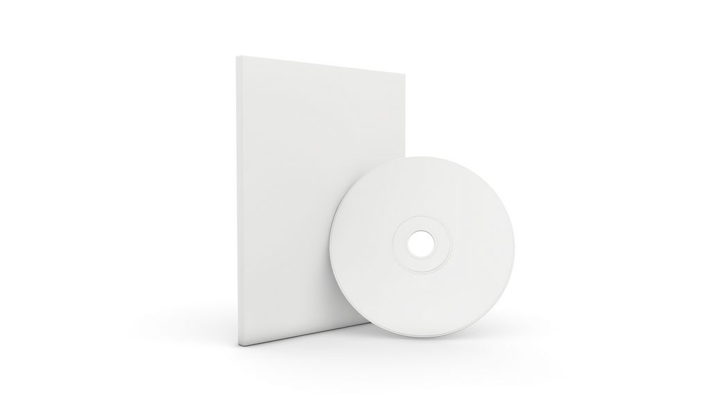 BLANK CD AND COVER 01 Empty, white CD, DVD or Blu-Ray disc, and ...