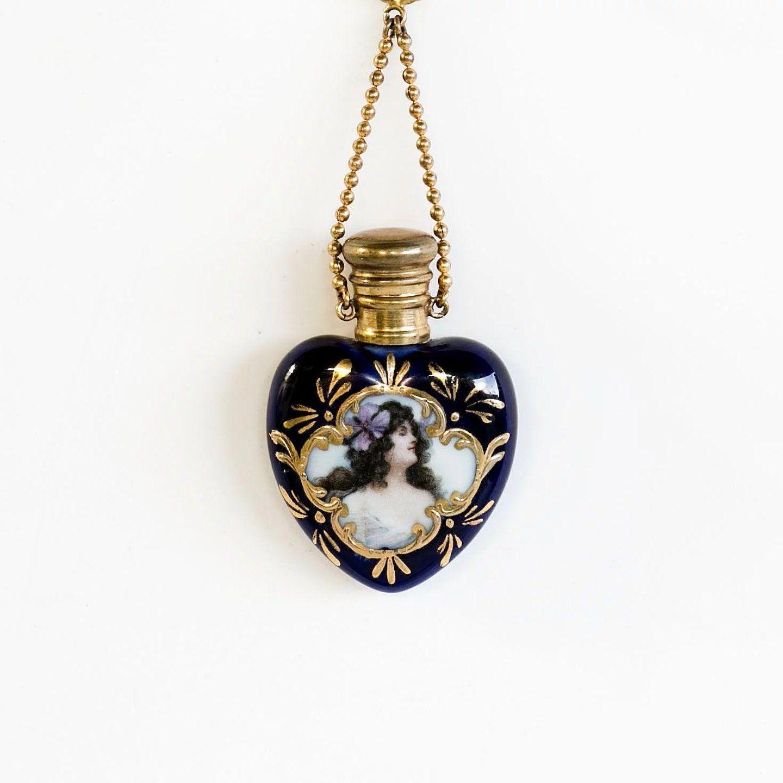 Photo of Lady's Vintage Antique Art Nouveau Perfume With Finger Chain