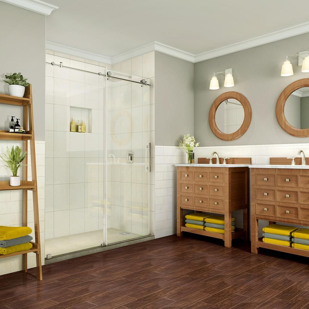 Coraline Pure 56 In 60 In X 76 In Completely Shower Doors Frameless Sliding Shower Doors Sliding Shower Door