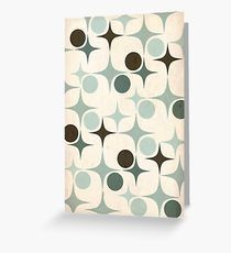 Retro Pattern in Blue  Greeting Card