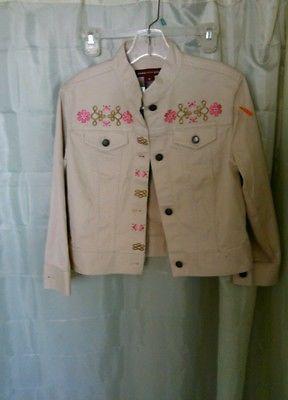 Women's Jones Wear Light Stylish Jacket Pretty Embroidery Size Medium