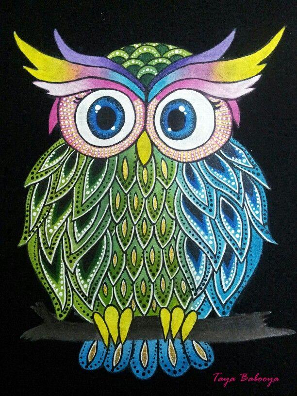 Owl By Taya Babooya Owl Art Owl Illustration Owl Painting