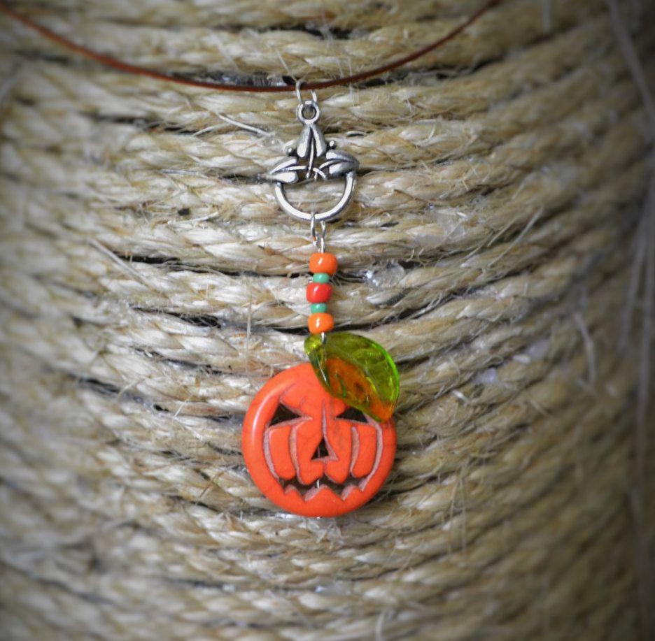 02 Halloween Jack-O-Lantern Necklace by FarmHouseFashion on Etsy