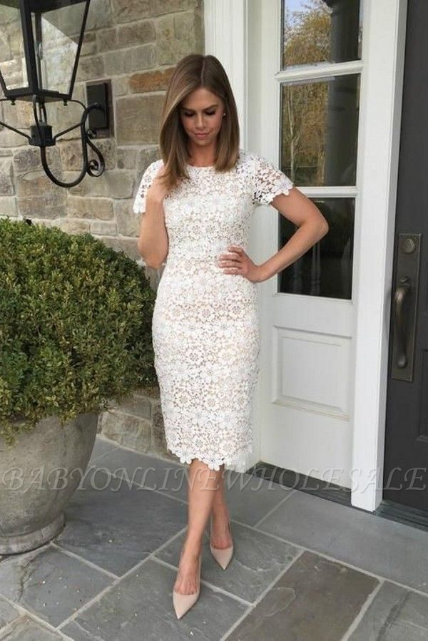 19++ White knee length dress with sleeves information